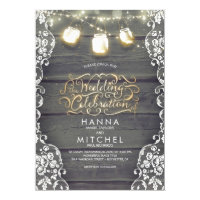 Rustic Mason Jar Lights Wood and Lace Wedding Invitation