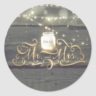 Rustic Mason Jar Lights Wood Barn Wedding Classic Round Sticker
