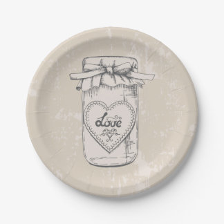 Rustic Mason Jar Love Heart Tan Brown Wedding Paper Plate