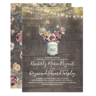 Rustic Mason Jar Mauve and Gold Engagement Party Invitation