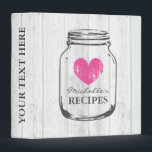 """Rustic mason jar oak wood grain recipe binder book<br><div class=""""desc"""">Personalized white oak wood grain line rustic mason jar kitchen recipe binder book. Custom kitchen cookbook with vintage pink faded heart and personalizable name. Cute personalized baking / cooking gift idea for women; ie mom, mother, aunt, wife, sister, grandma, bride, bridesmaids etc. Country chic design with distressed love symbol. Elegant...</div>"""