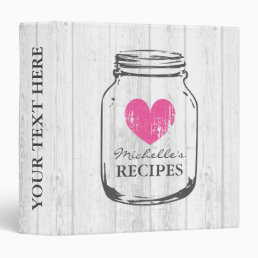 Rustic mason jar oak wood grain recipe binder book