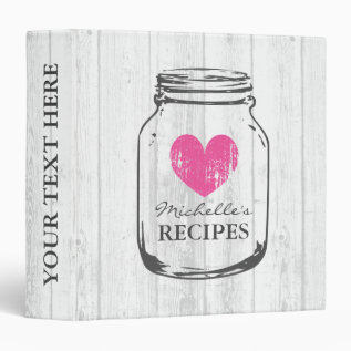Rustic Mason Jar Oak Wood Grain Recipe Binder Book at Zazzle