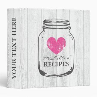 Rustic mason jar oak wood grain recipe binder book