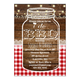 Rustic Mason Jar Old Wood I DO BBQ Invite