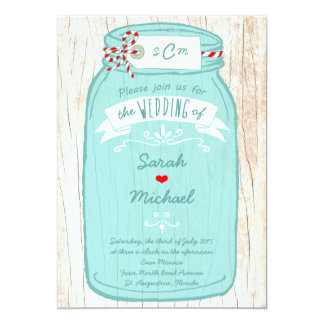 Rustic Mason Jar on Bark Illustrated Wedding Card