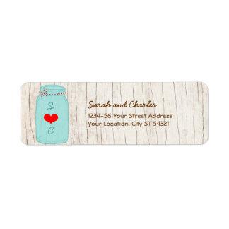 Rustic Mason Jar on Bark Illustrated Wedding Label
