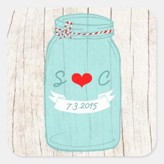 Rustic Mason Jar on Bark Illustrated Wedding Square Sticker