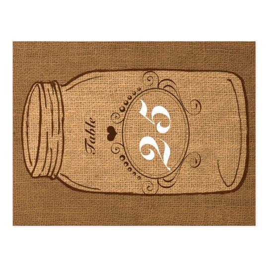 Rustic Mason Jar on Burlap Vintage Table Number Postcard