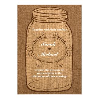 Rustic Mason Jar on Burlap Vintage Wedding Invites