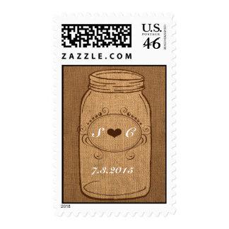 Rustic Mason Jar on Burlap Vintage Wedding Postage Stamps