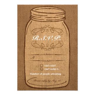 Rustic Mason Jar on Burlap Vintage Wedding RSVP Custom Invitation
