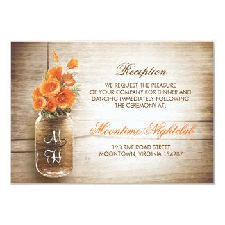 Rustic mason jar orange flowers reception card