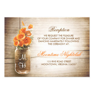 Rustic mason jar orange flowers reception invite