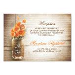 Rustic mason jar orange flowers reception 3.5x5 paper invitation card