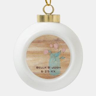 Rustic Mason Jar Peach Flowers Ceramic Ornament