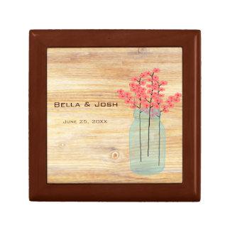 Rustic Mason Jar Peach Flowers Wedding Gift Box
