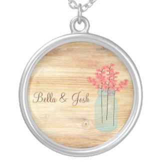 Rustic Mason Jar Peach Flowers Wedding Necklace