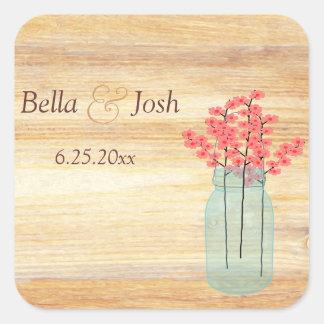 Rustic Mason Jar Peach Flowers Wedding Sticker