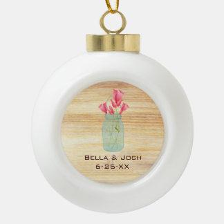 Rustic Mason Jar Peach Roses Ceramic Ornament