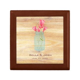 Rustic Mason Jar Peach Roses Wedding Gift Box