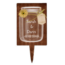 rustic mason jar  personalized cake picks