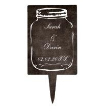 rustic mason jar  personalized cake picks