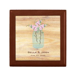 Rustic Mason Jar Pink Azaleas Wedding Gift Box