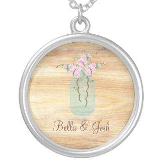 Rustic Mason Jar Pink Azaleas Wedding Necklace