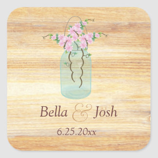 Rustic Mason Jar Pink Azaleas Wedding Sticker