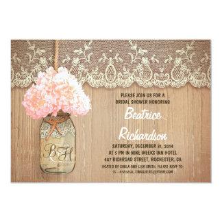 rustic mason jar pink hydrangea bridal shower card