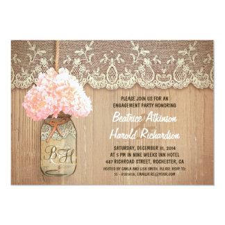 rustic mason jar pink hydrangea engagement party card
