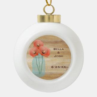 Rustic Mason Jar Poppies Ceramic Ball Ornament