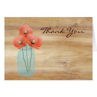 Rustic Mason Jar Poppies Thank You Note card