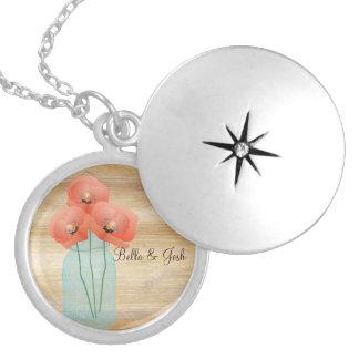 Rustic Mason Jar Poppies Wedding Necklace