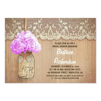 rustic mason jar purple hydrangea bridal shower card