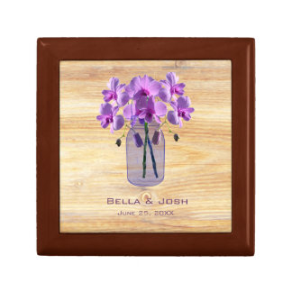 Rustic Mason Jar Purple Orchids Wedding Gift Box