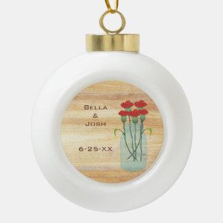 Rustic Mason Jar Red Carnations Ceramic Ornament