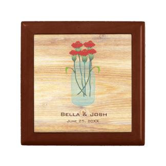 Rustic Mason Jar Red Carnations Wedding Gift Box