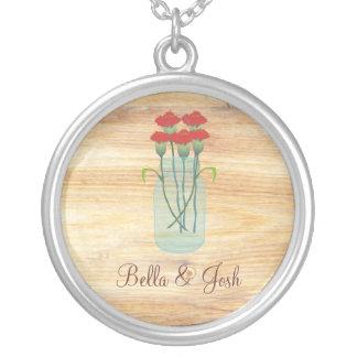 Rustic Mason Jar Red Carnations Wedding Necklace
