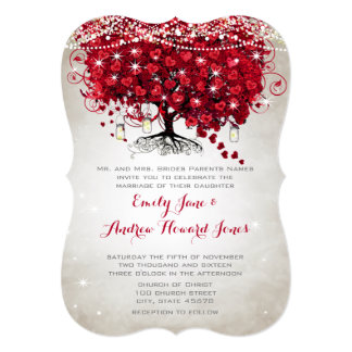 Rustic Mason Jar Red Heart Leaf Tree Wedding Card