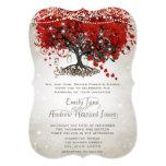 Rustic Mason Jar Red Heart Leaf Tree Wedding Custom Invites
