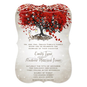 Rustic Mason Jar Red Heart Leaf Tree Wedding Invitation