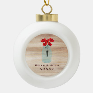 Rustic Mason Jar Red Poppies Ceramic Ornament