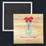 """Rustic Mason Jar Red Poppies Wedding Magnet<br><div class=""""desc"""">A rustic and chic wedding magnet with a Mason jar filled with red poppies on a warm wooden background. CUSTOMIZABLE,  just fill in all the details or let me know and I can personalize it for you.</div>"""