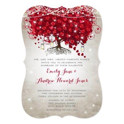 Rustic Mason Jar Red Tree Brown Trunk Wedding 5x7 Paper Invitation Card