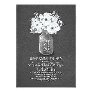 "rustic mason jar rehearsal dinner 5"" x 7"" invitation card"