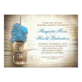 "rustic mason jar rehearsal dinner invitations 5"" x 7"" invitation card"