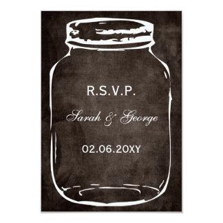"rustic mason jar rsvp cards standard 3.5 x 5 3.5"" x 5"" invitation card"