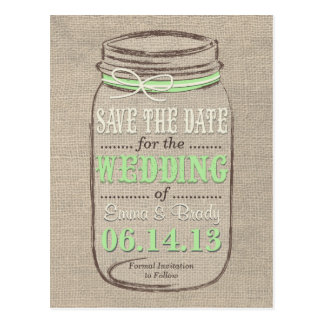 Rustic Mason Jar Save the Date Light Green Postcard